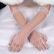 billiga Brudhandskar-Elastisk satäng / Siden Armbågslängd Handske Brudhandske Med Rosett