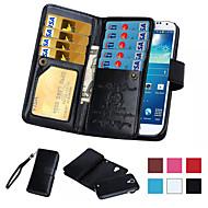 お買い得  携帯電話ケース-ケース 用途 Samsung Galaxy Samsung Galaxy Note カードホルダー ウォレット フリップ フルボディーケース 純色 PUレザー のために Note 5 Note 4 Note 3