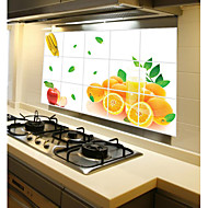 Removable Kitchen Oilproof Wall Stickers with Orange Fruit Style Water Resistant Home Art Decals