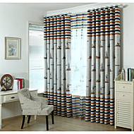 cheap Curtains & Drapes-Rod Pocket Grommet Top Tab Top Double Pleat Two Panels Curtain Modern European Mediterranean Neoclassical Country, Print & Jacquard