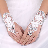 billiga Brudhandskar-Elastisk satäng / Siden Handledslängd Handske Brudhandske Med Rosett