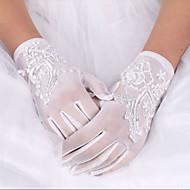 Elastisk satin / Bomuld / Silke Håndledslængde Handske Vedhæng / Stilfuld / Brudehandsker Med Broderi / Solid