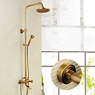 cheap Antique Brass Series-8 Inch Antique Brass Wall Mounted Two Handle Shower Set with Shower Head and Hand Shower