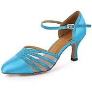billige Moderne sko-Dame Latin Moderne Salsa Kunstlær Høye hæler Trening Spenne Kustomisert hæl Burgunder Svart Hvit Rød Blå Kan spesialtilpasses