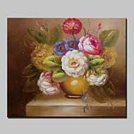 billiga Stilleben-Hang målad oljemålning HANDMÅLAD - Blommig / Botanisk Klassisk Duk