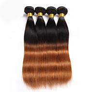 Echt haar Braziliaans haar Menselijk haar weeft Recht Haarextensions 3-delig Zwart met bruin # T1B 30