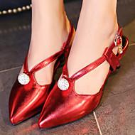 tanie Small Size Shoes-Damskie Obuwie Derma Lato Bez pięty Koci obcas na Biuro i kariera Formalne spotkania Impreza / bankiet Silver Czerwony Green Różowy Golden