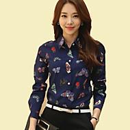Mulheres Camisa Casual Plus Sizes Primavera,Estampa Animal Azul Poliéster Colarinho de Camisa Manga Longa Fina