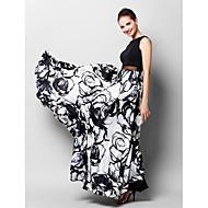 Linha A Longo Chiffon Charmeuse Baile de Fim de Ano Evento Formal Vestido com Estampa de TS Couture®