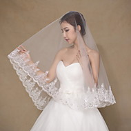 cheap Wedding Veils-One-tier Lace Applique Edge Wedding Veil Elbow Veils Fingertip Veils 53 Sequin Embroidery Lace Tulle