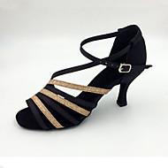 Žene Latinski plesovi Saten Sandale Unutrašnji Seksi blagdanski kostimi Profesionalac Početnik Vježbanje Stiletto potpetica Crna Zlatna 2