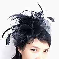 cheap Headpieces-Tulle Feather Net Fascinators Headwear with Floral 1pc Wedding Special Occasion Headpiece