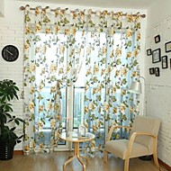 cheap Sheer Curtains-Rod Pocket Grommet Top One Panel Curtain Country , Jacquard Living Room Polyester Material Sheer Curtains Shades Home Decoration