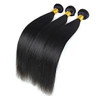 Φυσικά μαλλιά Περουβιανή Υφάνσεις ανθρώπινα μαλλιών Ίσια Προσθετική μαλλιών 3 Κομμάτια Μαύρο Φυσικό Χρώμα