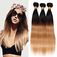 人毛 ブラジリアンヘア 人間の髪編む ストレート ヘアエクステンション 3個 #T1B -27