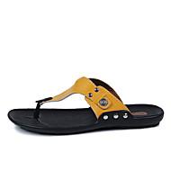 tanie Obuwie męskie-Męskie Komfortowe buty Skóra Wiosna / Lato Klapki i japonki Czarny / Pomarańczowy / Żółty
