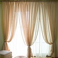 お買い得  シアーカーテン-2パネル ウィンドウトリートメント 近代の , ソリッド ベッドルーム リネン/ポリエステル混 材料 シアーカーテンシェード ホームデコレーション For 窓