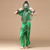 お買い得  ダンス用品-ベリーダンス セット 性能 シフォン スパンコール ゴールドコイン タッセル ローウエスト 上着 パンツ マスク ブレスレット 帽子