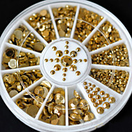 Fashion Wonem New Hot Sale 5 Sizes DIY 3D Nail Art Decoration Acrylic Glitter Gold Rhinestone
