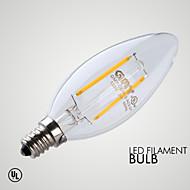 billige Stearinlyslamper med LED-1pc 2 W ≥200 lm E12 LED-lysestakepærer 2 LED perler COB Mulighet for demping / Dekorativ Varm hvit 110-130 V / 1 stk.