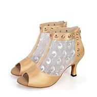 baratos Sapatilhas de Dança-Mulheres Sapatos de Salsa Tecido elástico Sandália / Botas / Salto Tachas / Flor de Cetim / Ziper Salto Carretel Personalizável Sapatos de Dança Preto / Vermelho / Bege / Espetáculo / Couro