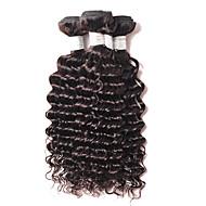 שיער אנושי שיער ברזיאלי טווה שיער אדם מתולתל תוספות שיער 4 חלקים שחור