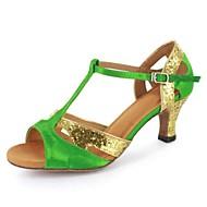 baratos Sapatilhas de Dança-Feminino Latina Courino Sandália Ensaio/Prática Presilha Salto Personalizado Cinzento Preto Vermelho Azul Verde Personalizável