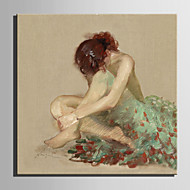 billiga Människomålningar-Hang målad oljemålning HANDMÅLAD - Människor Europeisk Stil Duk
