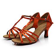 baratos Sapatilhas de Dança-Mulheres Sapatos de Dança Latina / Sapatos de Salsa Cetim Sandália Presilha Salto Personalizado Personalizável Sapatos de Dança Marrom / Laranja / Púrpura
