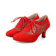 billige Moderne sko-Dame Moderne sko Velourisert / Glimtende Glitter Høye hæler / Joggesko Gummi / Snøring Utsvingende hæl Kan spesialtilpasses Dansesko Svart / Rød / Fuksia / Ytelse / Lær