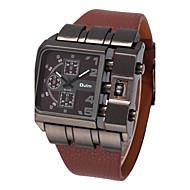 Oulm 男性用 クォーツ リストウォッチ 軍用腕時計 大きめ文字盤 レザー バンド クール ブラック ブルー レッド ブラウン