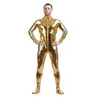 Shiny Zentai Kıyafetleri Morphsuit Ninja Zentai Cosplay Kostümleri Altın Solid Strenç Dansçı/Tulum Zentai Spandex Parlak Metalik Unisex