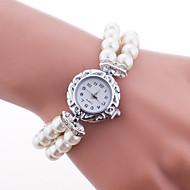 billige Quartz-Dame Quartz Armbåndsur Hot Salg Plastik Bånd Perler Elegant Mode Hvid Blåt Rød Pink