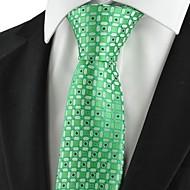 Rácsos-Nyakkendő(Zöld,Poliészter)