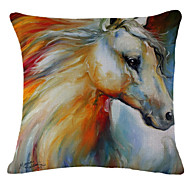 Painting Horse Pattern Linen Pillowcase Sofa Home Decor Cushion Cover