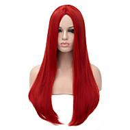 Парики из искусственных волос Жен. Прямой Красный Искусственные волосы Красный Парик Длинные Без шапочки-основы Красный