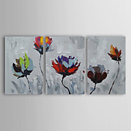 Oil Painting Flowers by Knife Set of 3 Hand Painted Canvas with Stretched Framed Ready to Hang