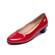 tanie Small Size Shoes-Damskie / Dla dziewczynek Skóra patentowa Wiosna / Lato Masywny obcas Brokat Czarny / Czerwony / Migdałowy / Formalne spotkania