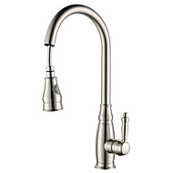 cheap Faucets-Kitchen faucet - Single Handle One Hole Oil-rubbed Bronze Pull-out / Pull-down Centerset Antique Kitchen Taps / Brass