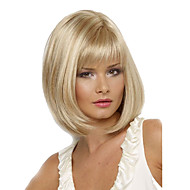 Women Bob Short Cosplay Straight Synthetic Hair Wigs Blonde Full Bang Heat Resistant
