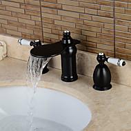 Torneira pia do banheiro - Cascata / Separada Bronze Polido a Óleo Difundido Duas alças de três furosBath Taps / Latão