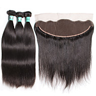 3 Bundles Brazilian Virgin Hair Straight with 1Pc 13×4 Lace Frontal Closure 100% Human Hair Weaves with Lace Frontal