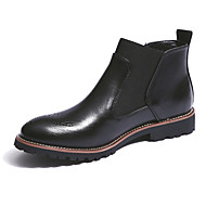 Men's Shoes Leather Fall Winter Comfort Chelsea Boot Boots Booties/Ankle Boots Split Joint For Casual Office & Career Black Brown Burgundy