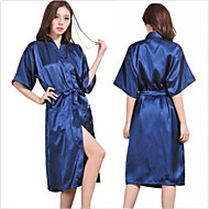 cheap Towels & Robes-M Lady Silk Satin Pajama Lingerie Sleepwear Kimono Gown Nightdress Long Robe