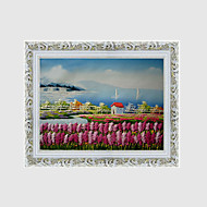 billiga Blom-/växtmålningar-Hang målad oljemålning HANDMÅLAD - Landskap Blommig / Botanisk Europeisk Stil Duk