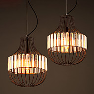 Nordic Restaurant Lights Simple Black Wrought Iron Lamp Crystal Light Industrial Wind Retro Export Chandeliers