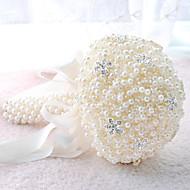 """פרחי חתונה עגול ורדים זרים חתונה חתונה/ אירוע פוליאסטר סאטן תחרה חרוז קצף גביש אבן ריין 7.87""""(לערך.20ס""""מ)"""