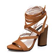 baratos Sapatos Femininos-Mulheres Sapatos Camurça Verão Gladiador Salto Robusto Presilha Preto / Marron