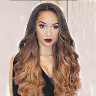cheap Wigs & Hair Pieces-Human Hair Full Lace Lace Front Wig Wavy 130% Density 100% Hand Tied African American Wig Natural Hairline Ombre Hair Medium Long Women's