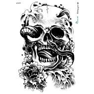 abordables -21 * 15cm grands gros crâne halloween horreur autocollant de tatouage dessins noirs tatouage temporaire squelette de serpent de fleurs